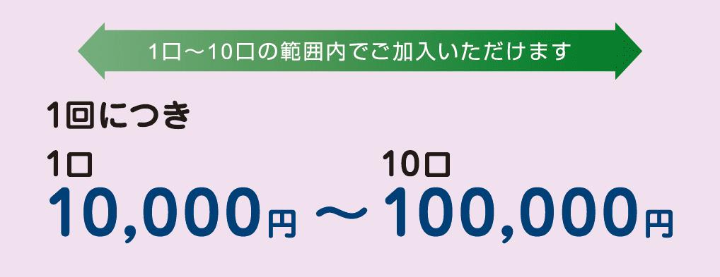 1回につき1口 10,000円~10口 100,000円