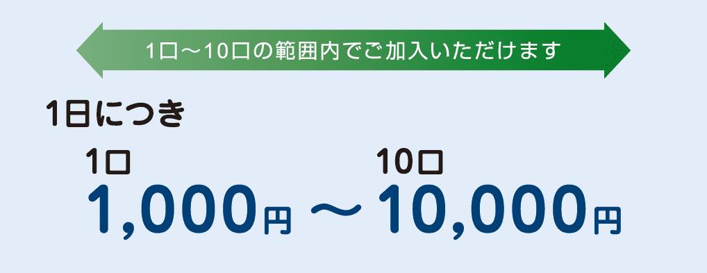1日につき1口 1,000円~10口 10,000円