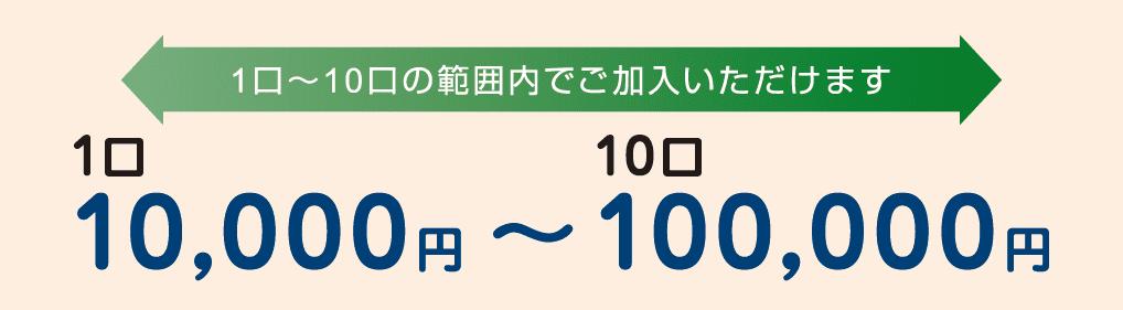 1口 10,000円~10口 100,000円